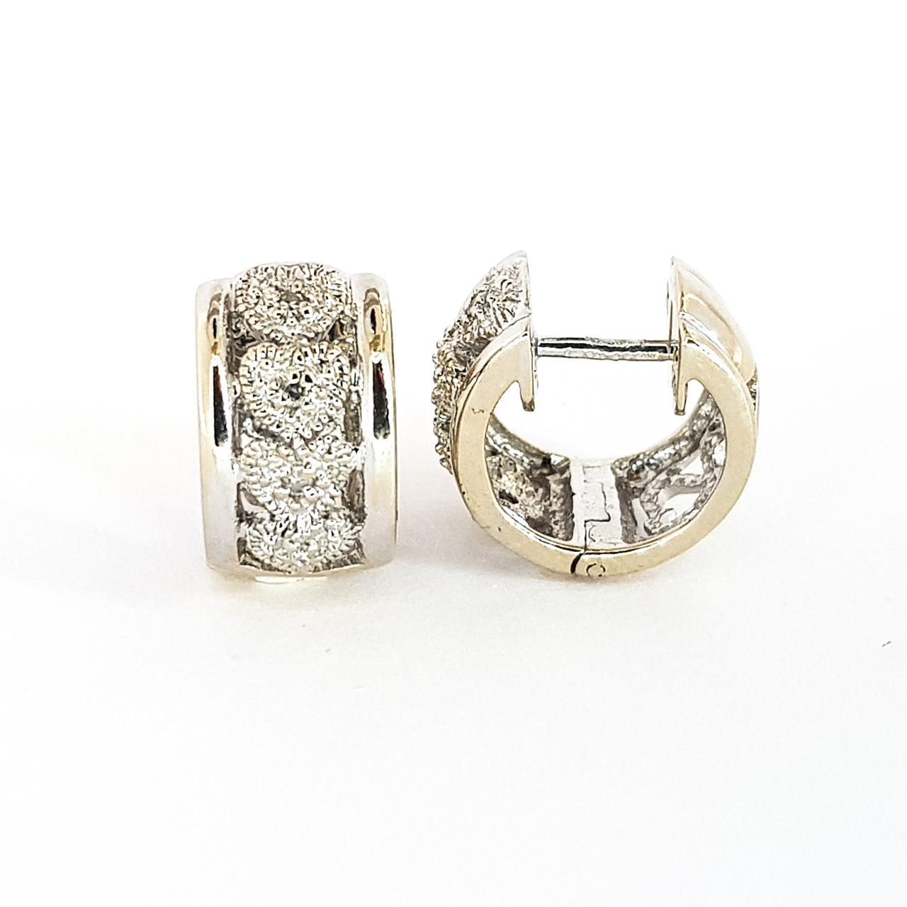 Золотые серьги конго из  белого золота 750 пробы с  бриллиантами