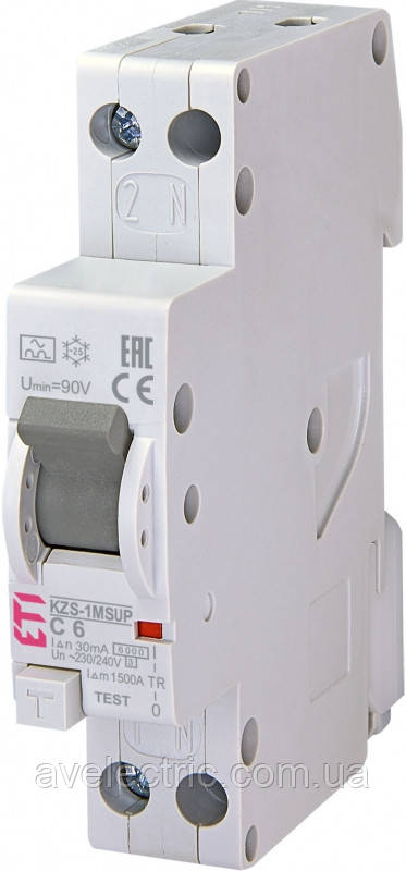Диффер. автоматический выкл. KZS-1M SUP C 20/0, 03 тип A (6kA) (верхн. подключ.), ETI, 2175725