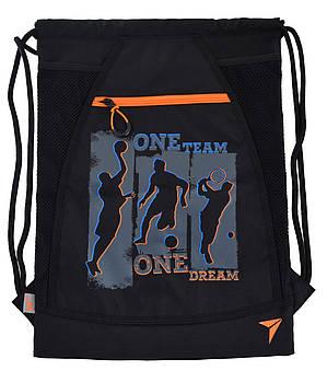 Детская сумка-мешок для обуви YES  DB-16 One team 48х35см Черная (557141)