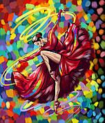 "Картина за номерами ""Танцівниця в червоному"" в кор. PAINTING BY NUMBERS 40см*50см /10/"