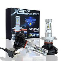 Светодиодные лампы X3 LED Headlight H4 (6000 Лм / 50 Вт), комплект автомобильных светодиодных ламп, фото 3