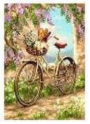 """Картина по номерам """"Велосипед в цветах"""" 40*50см,крас.-акрил,кисть-3шт.в коробке"""