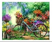 """Картина по номерам """"Велосипед с цветами"""" 40*50см,крас.-акрил,кисть-3шт.в коробке"""