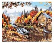 """Картина по номерам """"Водяная мельница"""" 40*50см,крас.-акрил,кисть-3шт.в коробке"""