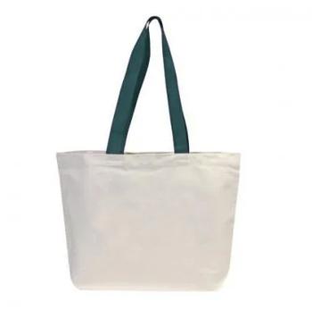 Эко сумка для сублимации 42х12х35 см. трапеция  с зеленой ручкой
