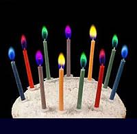 Свічки для торта з кольоровим полум'ям 12шт.