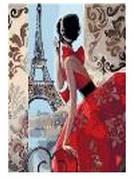 """Картина по номерам """"Девушка смотрит на Париж"""" 40*50см,крас.-акрил,кисть-3шт.в коробке"""