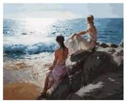 """Картина по номерам """"Девушки у моря"""" 40*50см,крас.-акрил,кисть-3шт в коробке"""