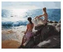 """Картина по номерам """"Девушки у моря"""" 40*50см,крас.-акрил,кисть-3шт в коробке, фото 2"""