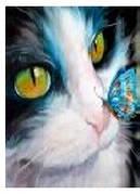 """Картина по номерам """"Кот и бабочка"""" 40*50см,крас.-акрил,кисть-3шт.в коробке"""