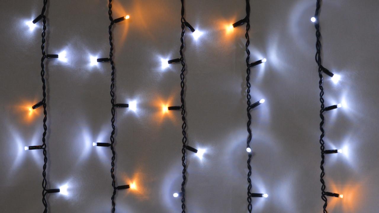 Вулична Гірлянда Бахрома 2 метри 108 LED чорний дріт