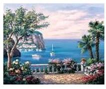 """Картина по номерам """"Морской пейзаж """" 40*50см,крас.-акрил,кисть-3шт.в коробке"""