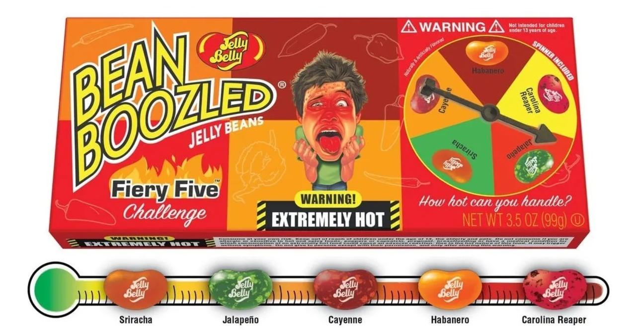 Jelly Belly Game Bean Fiery Five. Бин Бузлд рулетка Острая Огненная Пятерка Джели Бели.99 грамм
