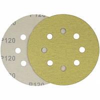Круг шлифовальный желтый на липучке Velcro Polystar Abrasive 125 мм, P100