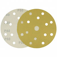 Круг шлифовальный желтый на липучке Velcro Polystar Abrasive 150 мм, P80