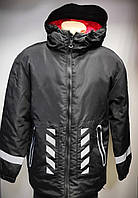 Куртка зимняя длинная мужская светоотражающая,пуховик чёрный, Турция