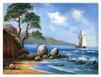 """Картина по номерам """"Парусник у берега"""" 40*50см,крас.-акрил,кисть-3шт в коробке"""
