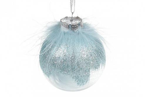 Елочный шар 8см с декором из пуха, цвет - голубой BonaDi (898-241), фото 2