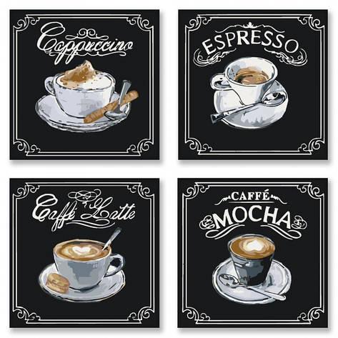"""Набор для розпису по номерам Поліптих """"Смачна кава""""  (4шт.)18*18см,, фото 2"""