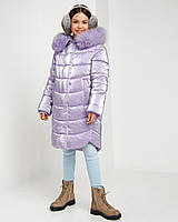 Детское зимнее пальто с мехом в красивых цветах сиреневый
