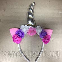 Рог Единорога с ушками и цветами на ободке, серебряный