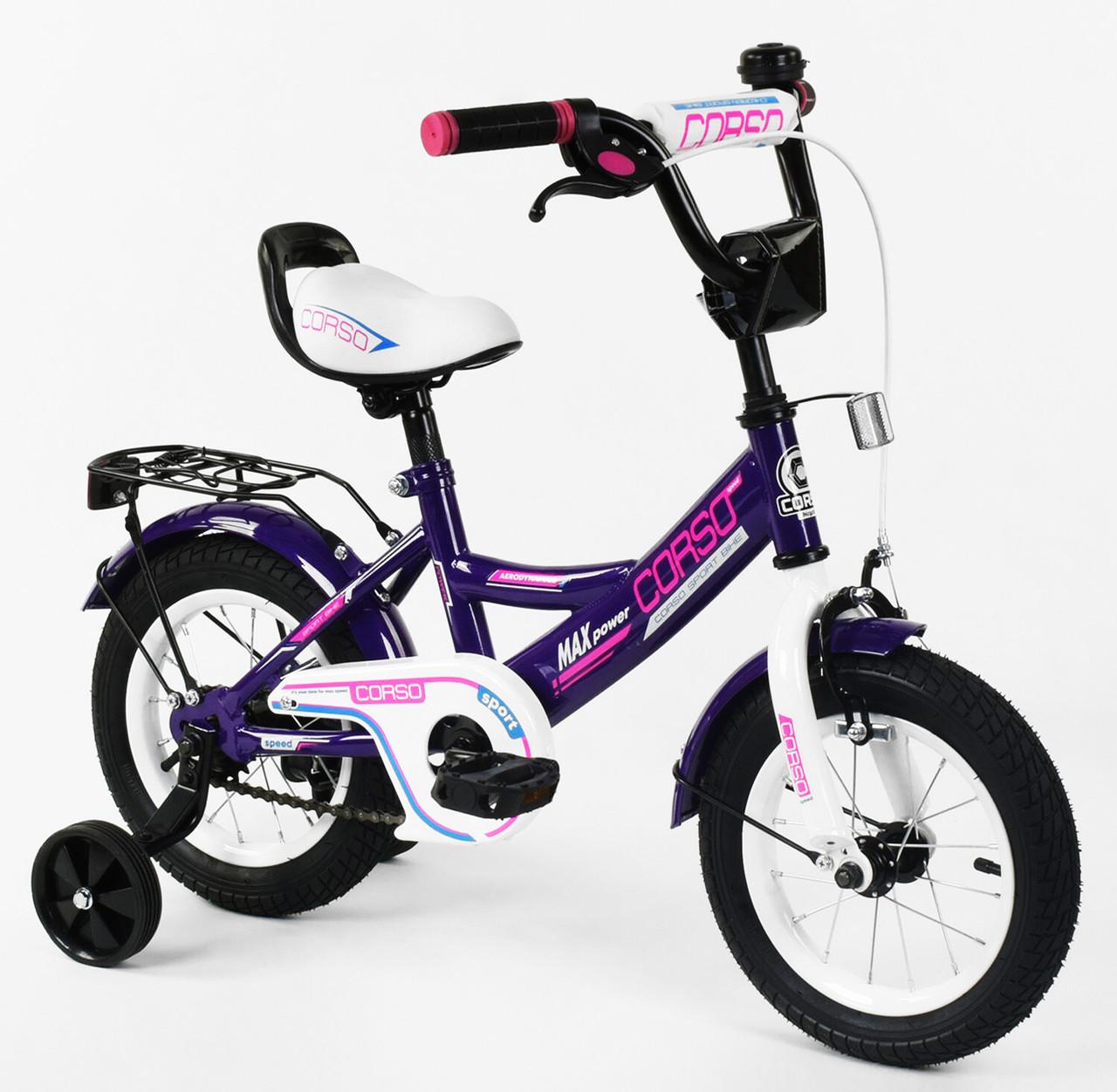 Детский двухколесный велосипед 12 дюймов ФИОЛЕТОВЫЙ ручной тормоз