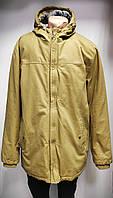 Куртка длинная мужская желтая из плотного котона на подкладке,теплая,Турция