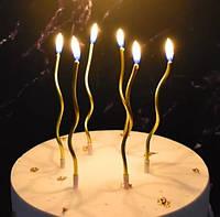 Свічки для торта довгі спіральки 6шт золото 13см