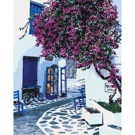 """Набір для розпису по номерах. Міський пейзаж """"Сонячна Греція"""" 40*50см, фото 2"""