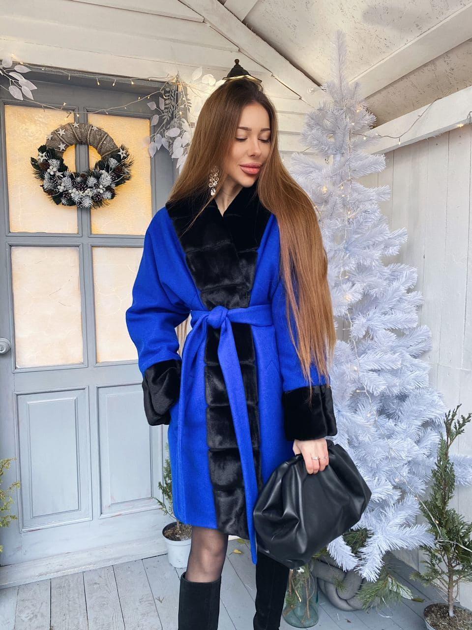 Женское теплое классическое синие пальто M