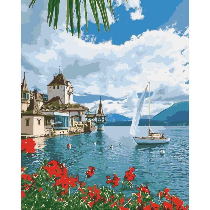"""Набір для розпису по номерах. Морський пейзаж """"Ранок в Швейцарії"""" 40*50см"""