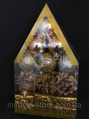 Набор пластиковых ёлочных украшения домик 12 шт 4 см разные цвета, фото 2
