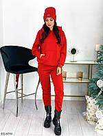 Спортивный костюм на флисе красный с шапкой, фото 1