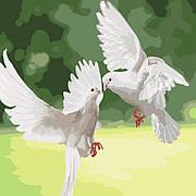 """Набір для розпису по номерах """"Білосніжні голуби"""" 40*40см"""