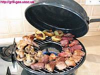 Грибы, мясо гриль на сковороде Чудо Гриль Газ