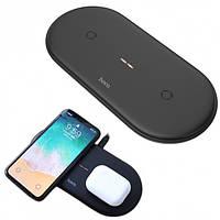 Беспроводное зарядное устройство для телефона 10W 2в1 Hoco CW23 Black