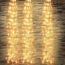"""Светодиодная Гирлянда """"Конский Хвост"""" 10 линий, Длина 2 метра , 200 LED. Белый Теплый"""