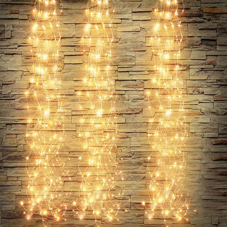 "Светодиодная Гирлянда ""Конский Хвост"" 10 линий, Длина 2 метра , 200 LED. Белый Теплый, фото 2"