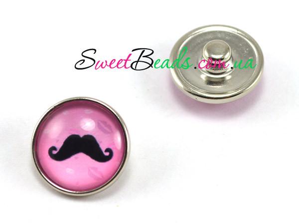 Кнопка Noosa стекло, усы на розовом
