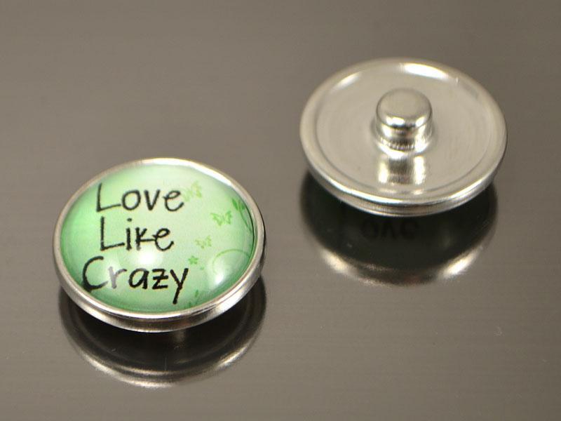 Кнопка Noosa стекло,  Love, Live, Crazy  #50