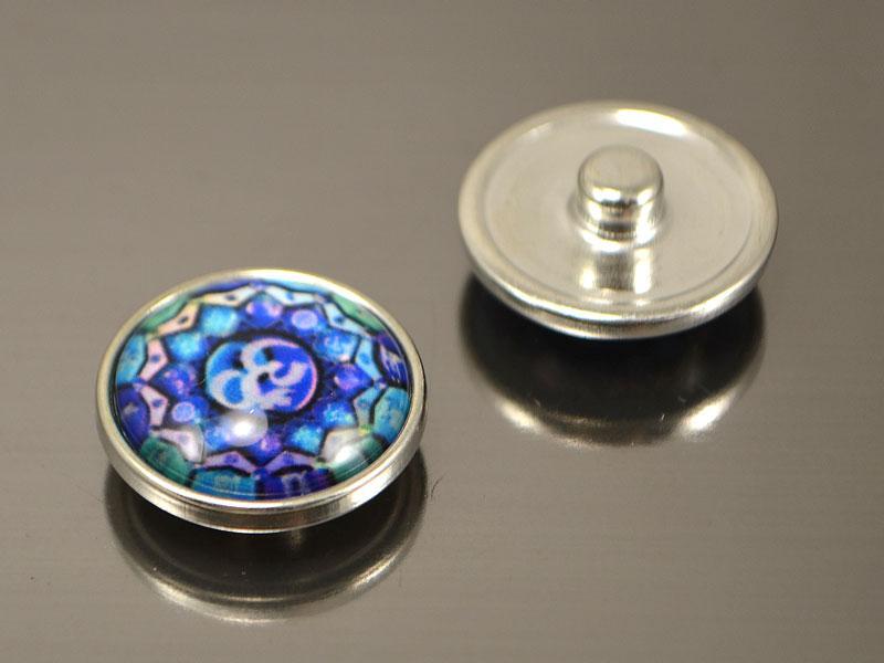 Кнопка Noosa стекло, ОМ  Мандала синяя #52