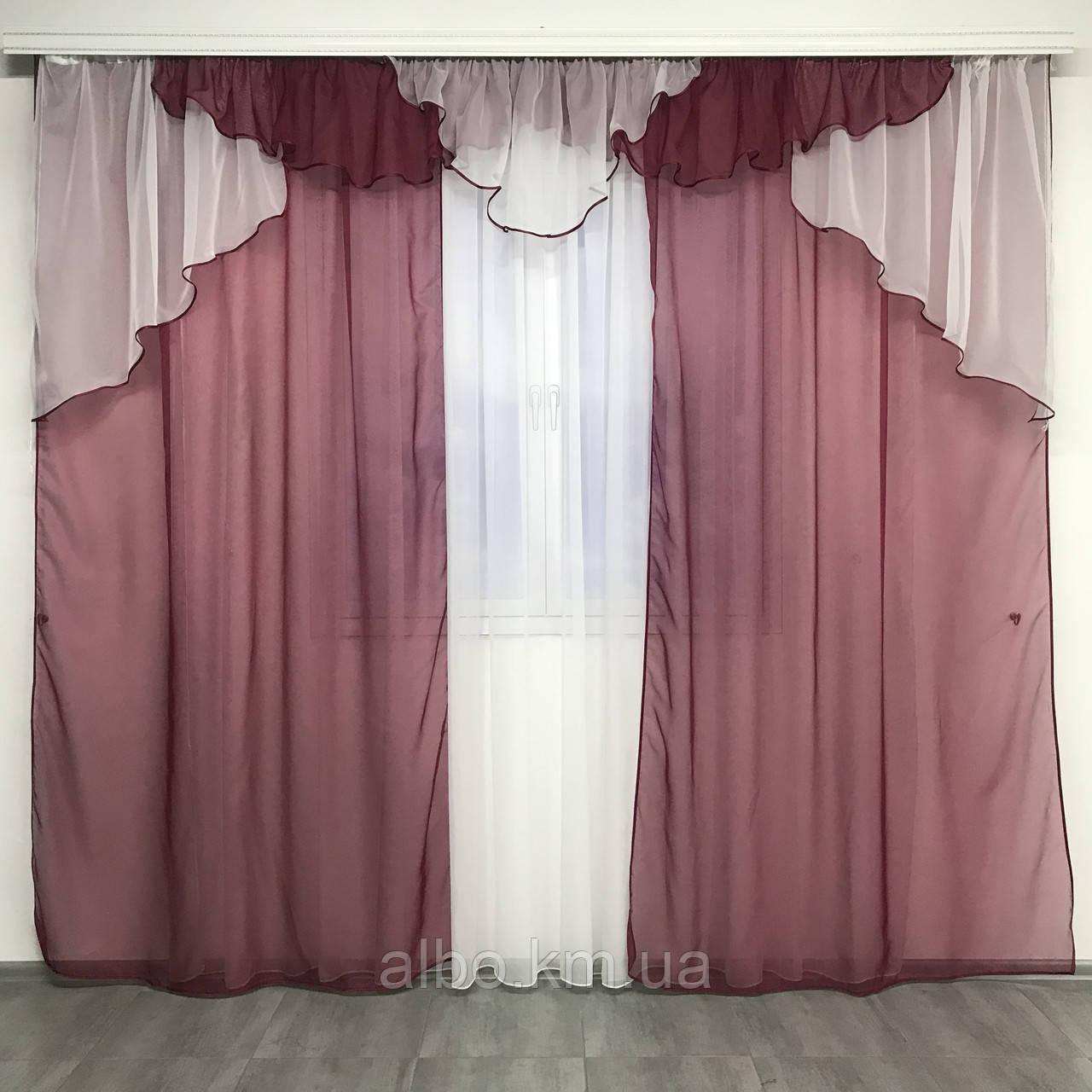Однотонні штори для залу будинку вітальні, готові штори для будинку кухні квартири з ламбрекеном, набір штор і ламбрекен в кімнату