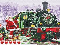 Картина за номерами Новорічний поїзд, Санта, кольоровий полотно на картоні, 40*50 см, без коробки, ТМ Barvi+ ЛАК