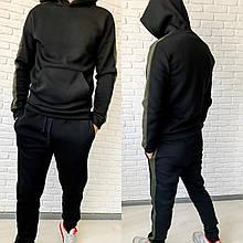 Мужской стильный тёплый спортивный костюм (трехнить на флисе )Цвет чёрный, хаки
