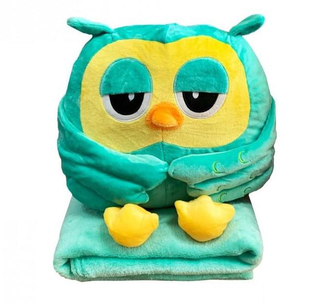 Плед 110х150 всередині подушки Сова бірюзово-зелена Подушка-іграшка 30х30