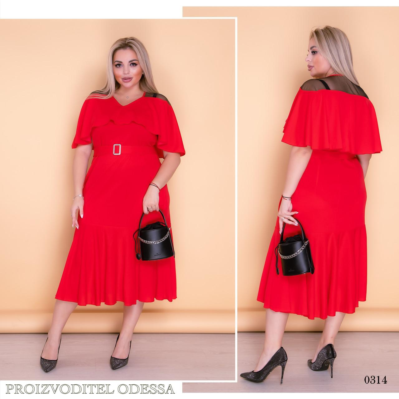 Платье миди низ расклешенный креп-дайвинг+вставки сетки 52-54,56-58,60-62