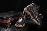 Мужские ботинки кожаные зимние коричневые Yuves 444, фото 6