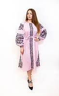 Вишита, рожева сукня з поясом