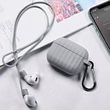Комплект для Apple Airpods Pro (чехол, карабин, шнур) Hoco WB20 Fenix protective cover Gray, фото 3