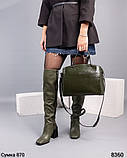 Ботфорты женские с декором цвета оливы, фото 5